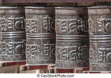 spool - brown Tibetan spool in Himalayas