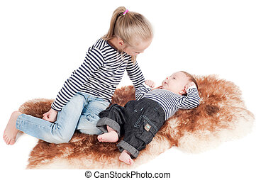 neonato, bambino, sorella