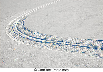caterpillar trace on snow surface