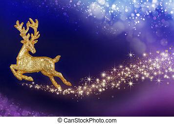 navidad, magia, dorado, reno