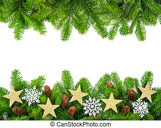 Fresh fir twigs as a Christmas frame - Frame of fresh fir...