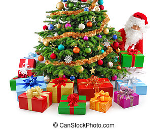 Santa preparing the gifts