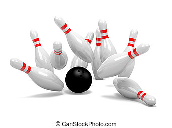 Bowling Strike of Skittles - Strike of White and Red Bowling...