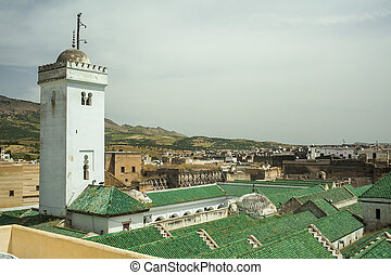 View on Fez - Roof of the University of al-Karaouine in Fes,...