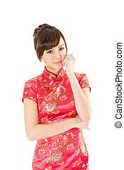 Chinese woman dress traditional cheongsam on white...