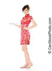 introduce - Smiling Chinese woman dress traditional...