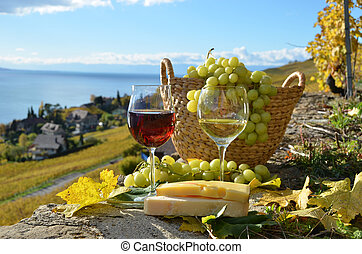 Two wineglasses, cheese and grapes on the terrace of...