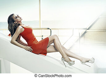 Attractive girl lying and resting