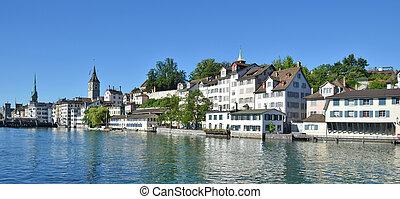 Zurich downtown across Limmat river