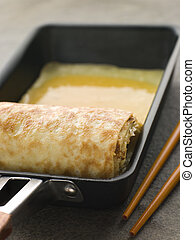 Rolled Dashi Omelette in a Square frying Pan