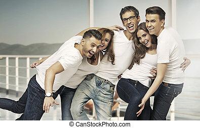 ivrig, Skott, attraktiv, grupp, vänner
