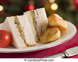 Roast Turkey Stuffing and Mayonnaise Sandwich with Cold...