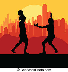 Women basketball in front of city sunset vector background...