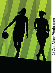 Basketball players active sport silhouettes vector...