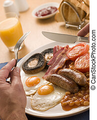 Eating a Full English Breakfast