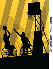 Active disabled men basketball players in a wheelchair detailed sport concept silhouette illustration background vector