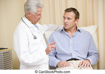 Doctor giving man checkup in exam room