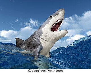 Great White Shark - Computer generated 3D illustration with...