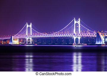 橋, 懸濁液,  busan, 夜