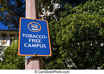 Tobacco Free Campus Sign at University in United States