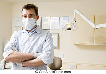 Dentist in exam room with mask on