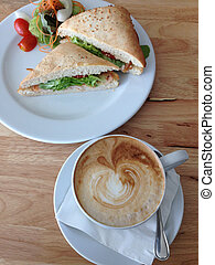 tuna sandwich and latte coffee