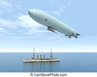 Airship and Warship - Computer generated 3D illustration...