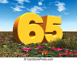 The Number 65 - Computer generated 3D illustration with the...