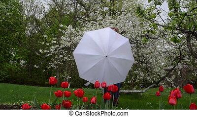 woman umbrella garden