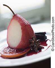 Pear Poached in Rioja Orange and Spices