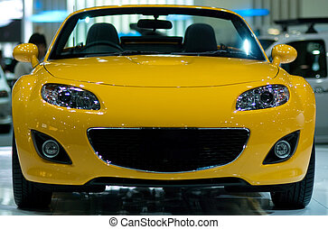 Yellow sportscar - Front view of Japanese, yellow,...