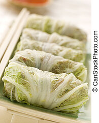 Steamed Pork and Vegetable Cabbage Rolls With Sweet Chili...