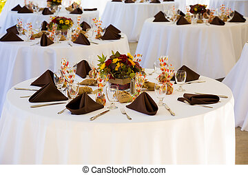 Wedding Reception Tables - Tables are set and ready for a...