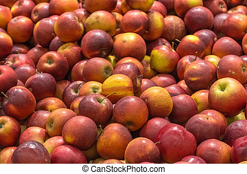 Red Apples In Fruit Market Display - Close Up Of Red Apples...