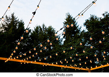 Hanging Strands of Lights - At a wedding reception lights...