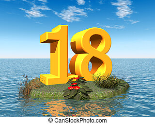 The Number 18 - Computer generated 3D illustration with the...
