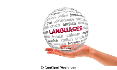 Languages Word Sphere - A person holding a 3D Languages Word...