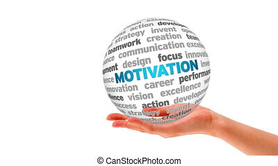 Motivation Word Sphere - A person holding a 3d Motivation...