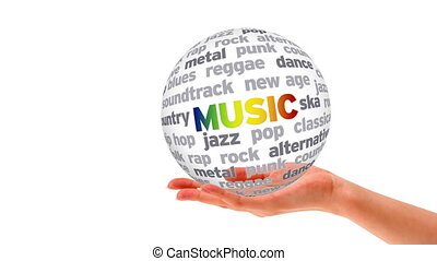 Music Word Sphere - A person holding a 3d Music Word Sphere