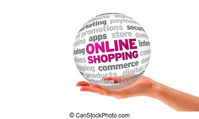 Online Shopping Word Sphere - A person holding a 3d Online...