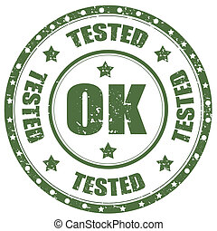 Tested-OK - Grunge rubber stamp with text Tested-OK,vector...