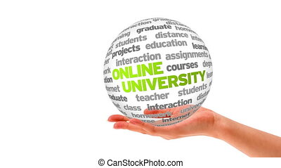 Online University Word Sphere - A person holding a 3d Online...