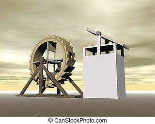 Tread-wheel machine-gun, L. da Vinci - 3D render