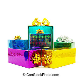christmas box - Christmas box gifts with satin bow isolated...