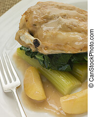 Chicken Breast and Celery cooked in a Cider Sauce