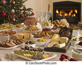 boxeo, día, Buffet, almuerzo, navidad, árbol,...