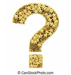 Question mark of golden stars