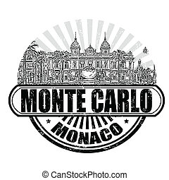 Monte Carlo stamp - Grunge rubber stamp with the grand...