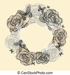 Vintage wreath of roses, butterflies, hand-drawing. Vector illustration.