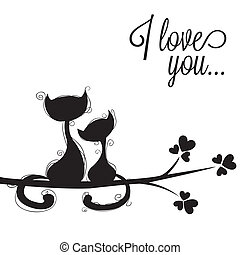 cats in loves - abstract cats in love on white background